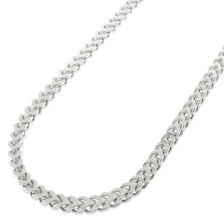 Sterling Silver 3mm Hollow Franco Rhodium-plated Chain Necklace