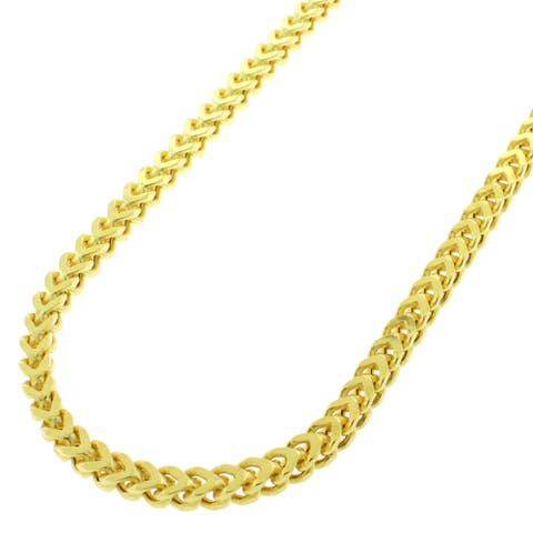 "Authentic Sterling Silver 3mm Hollow Franco Square Box Link .925 Yellow Gold Necklace Chain 16"" - 40"""