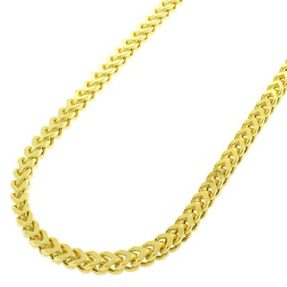 Sterling Silver 3mm Hollow Franco Yellow Goldplated Chain Necklace