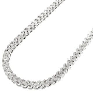 "Sterling Silver 3.5mm Hollow Franco Square Box Link 925 Rhodium Necklace Chain 16"" - 36"""