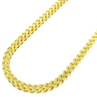 Sterling Silver 3.5mm Hollow Franco Yellow Goldplated Chain Necklace (Option: 34 Inch)|https://ak1.ostkcdn.com/images/products/11651117/P18582423.jpg?impolicy=medium