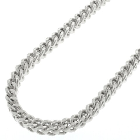 """Sterling Silver 4.5mm Hollow Franco Square Box Link 925 Rhodium Necklace Chain 18"""" - 38"""""""