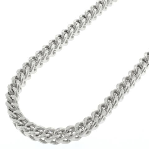 "Authentic Sterling Silver 4.5mm Hollow Franco Square Box Link .925 Rhodium Necklace Chain 18"" - 38"""