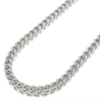 Sterling Silver 4.5mm Hollow Franco Rhodium-plated Chain Necklace (Option: 34 Inch)