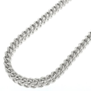 Sterling Silver 4.5mm Hollow Franco Rhodium-plated Chain Necklace (More options available)