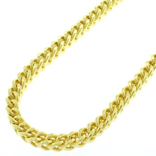 "Sterling Silver 4.5mm Hollow Franco Square Box Link 925 Yellow Gold Plated Necklace Chain 18"" - 38"""