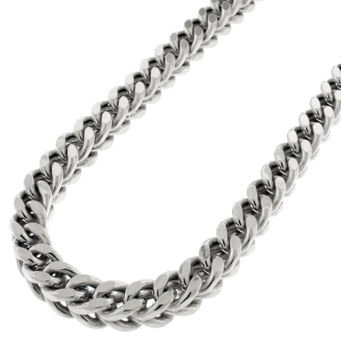 Sterling Silver 6.5mm Hollow Franco Rhodium-plated Chain Necklace
