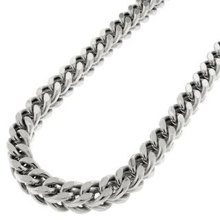 Sterling Silver 6.5mm Hollow Franco Rhodium-plated Chain Necklace|https://ak1.ostkcdn.com/images/products/11651121/P18582447.jpg?impolicy=medium