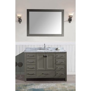 Bella SP 48 Inch Grey Single Bathroom Vanity Set with Mirror