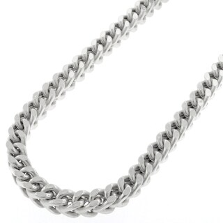 Sterling Silver 5.5mm Hollow Franco Rhodium-plated Chain Necklace