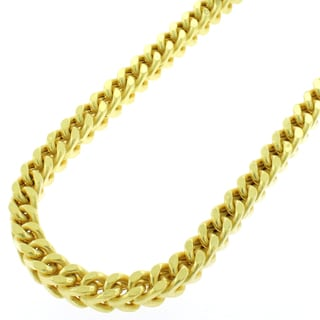 Sterling Silver 5.5mm Hollow Franco Yellow Goldplated Chain Necklace