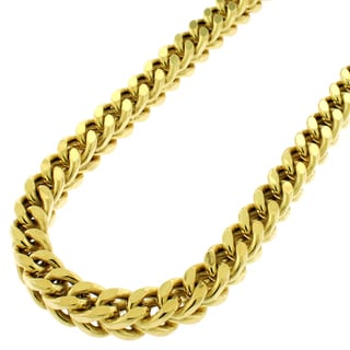 Sterling Silver 6.5mm Hollow Franco Yellow Goldplated Chain Necklace