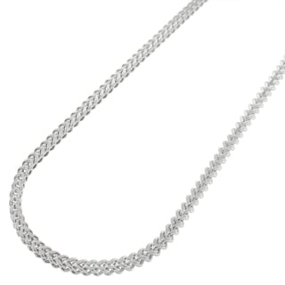 14k White Gold 2mm Hollow Franco Chain Necklace