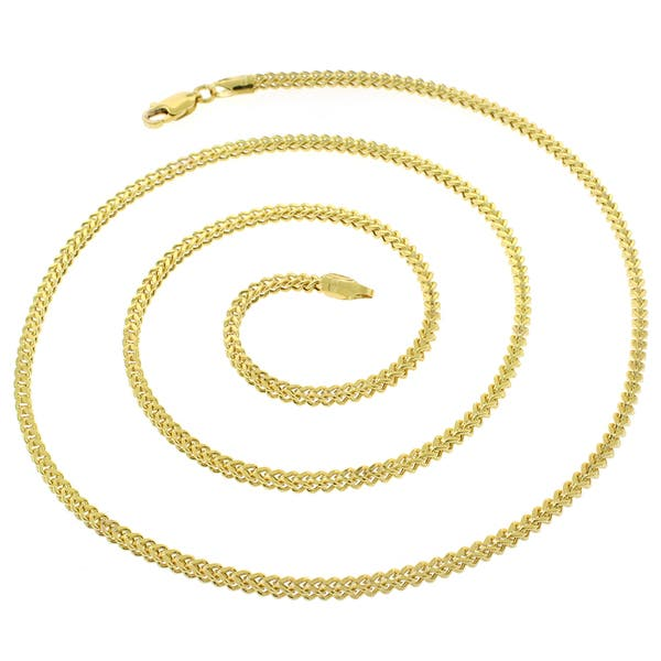 bd61293d3693c Shop 14k Yellow Gold 2.5mm Hollow Franco Square Box Link Necklace ...