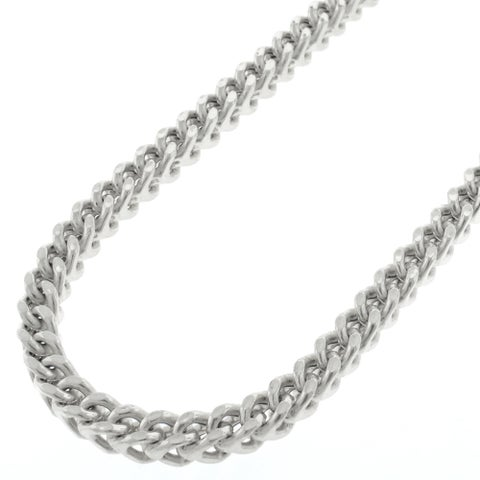 """14k White Gold 4.5mm Hollow Franco Square Box Link Necklace Chain 20"""" - 34"""""""