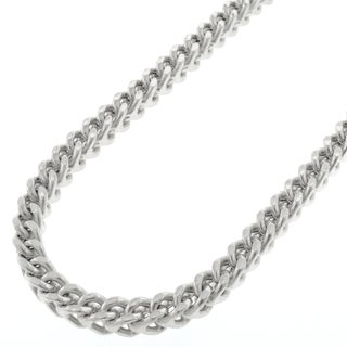 "14k White Gold 4.5mm Hollow Franco Square Box Link Necklace Chain 20"" - 34"""
