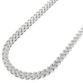 14k White Gold 3.5mm Hollow Franco Chain Necklace