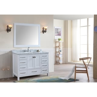 Bella SP 48 Inch White Single Bathroom Vanity Set with Mirror