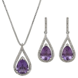 Sterling Silver 1/3ct TDW Diamond and 3ct TGW Lab-created Emerald Teardrop Pendant and Earring Set (H-I, I1-I2)