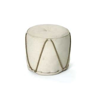 Off White Pouf with Rope Design