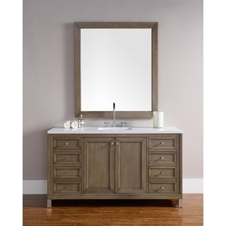 "Chicago 60"" Single Vanity, White Washed Walnut"