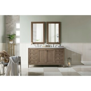 60 Inch Double Sink Vanity in White Washed Walnut