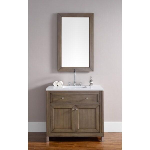 36 Inch Single Sink Vanity In White Washed Walnut Free
