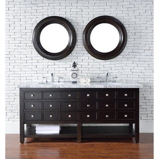"Vancouver 72"" Cerused Espresso Oak Double Vanity w/Drawers"