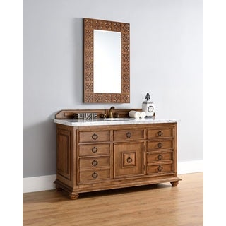 60 Inch Single Sink Vanity with Brown Finish