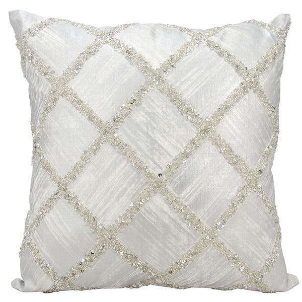 Kathy Ireland Beaded Diamonds Silver Ivory Throw Pillow 20 X 20 On Sale Overstock 11651241