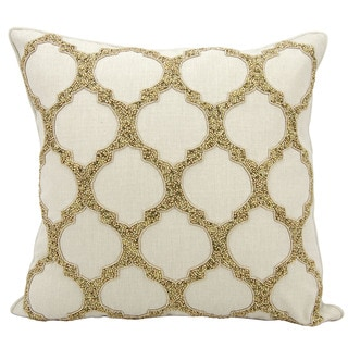 kathy ireland Beaded Lattice Gold Throw Pillow (20-inch x 20-inch) by Nourison
