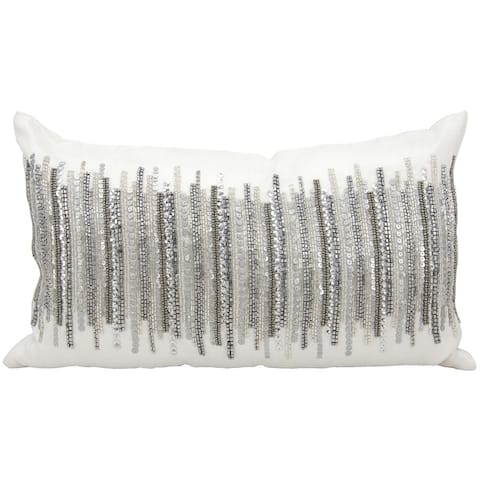 kathy ireland Heart Beat Silver Throw Pillow (12-inch x 20-inch) by Nourison