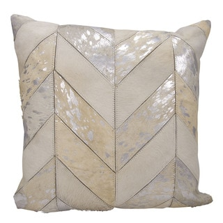 kathy ireland Metallic Chevron White/Silver Throw Pillow (20-inch x 20-inch) by Nourison