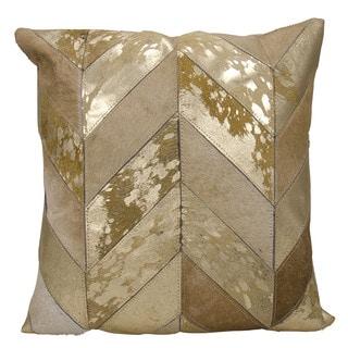 kathy ireland Metallic Chevron Beige/Gold Throw Pillow (20-inch x 20-inch) by Nourison