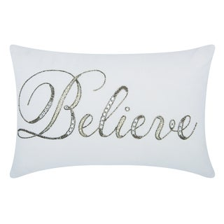 kathy ireland Beaded Believe White Throw Pillow (12-inch x 18-inch) by Nourison