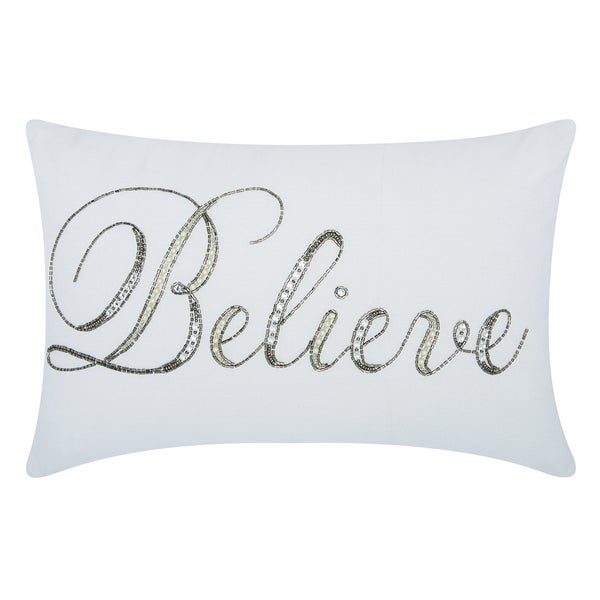 kathy ireland Beaded Believe White Throw Pillowby Nourison (12-Inch X 18-Inch)