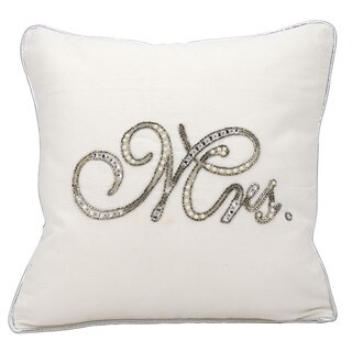 kathy ireland Beaded Mrs. White Throw Pillow (14-inch x 14-inch) by Nourison