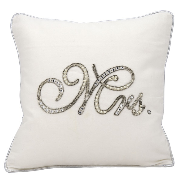 kathy ireland Beaded Mrs. White Throw Pillowby Nourison (14-Inch X 14-Inch)