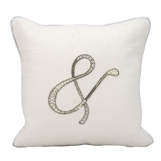 kathy ireland Beaded and Emperson White Throw Pillow (14-inch x 14-inch) by Nourison