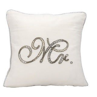 kathy ireland Beaded Mr. White Throw Pillow (14-inch x 14-inch) by Nourison