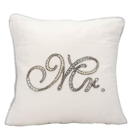 kathy ireland Beaded Mr. White Throw Pillowby Nourison (14-Inch X 14-Inch)