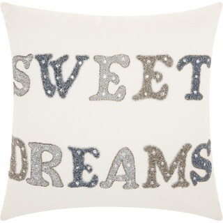 kathy ireland Sweet Dreams White Throw Pillowby Nourison (18-Inch X 18-Inch)