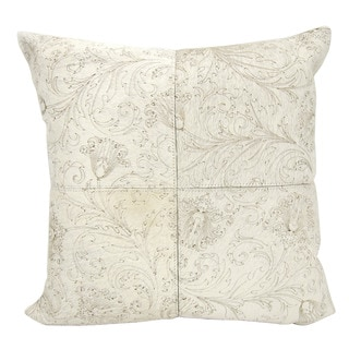 Mina Victory Floral Imprint White 20 x 20-inch Throw Pillow by Nourison