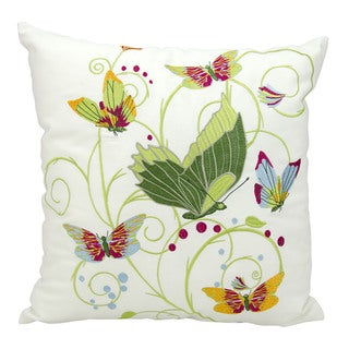 kathy ireland Fantasy Butterflies Multicolor Throw Pillow (18-inch x 18-inch) by Nourison