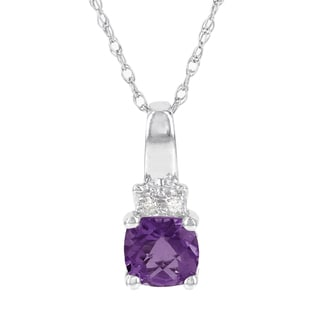 H Star 14K White Gold Checkerboard Gemstone and Diamond Accent Pendant (I-J, I2-I3)
