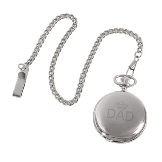Father's Day Black Dial Silverplated Pocket Watch