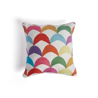 Multi-Color Throw Pillow with Curved Design