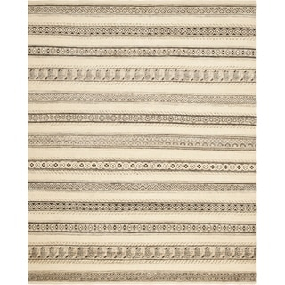 Safavieh Hand-knotted Santa Fe Striped Nomadic Natural/ Multi Wool Rug (9' x 12')