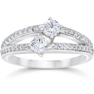 14k White Gold 1/2ct TDW 2-stone Forever Us Diamond Engagement Ring (I-J, I2-I3)