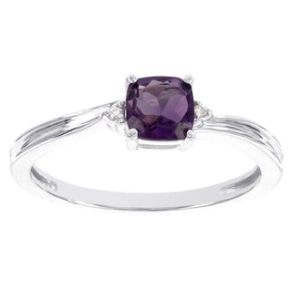 H Star 10k White Gold Checkerboard Gemstone and Diamond Accent Ring (I-J, I2-I3)